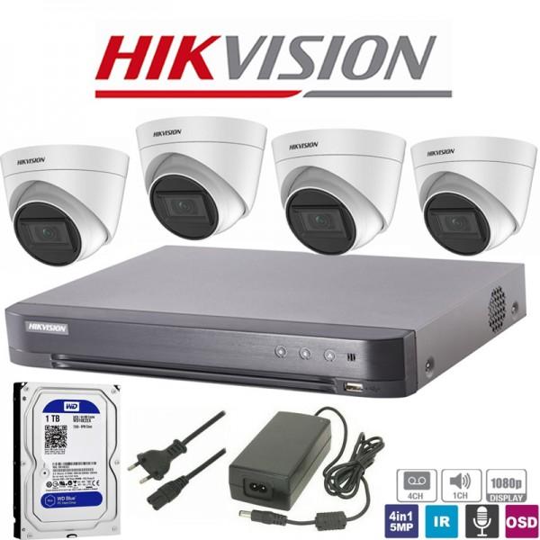 Hikvision σετ καταγραφικό με 4 Κάμερες 1080p, σκληρό δίσκο, τροφοδοτικό (Used)