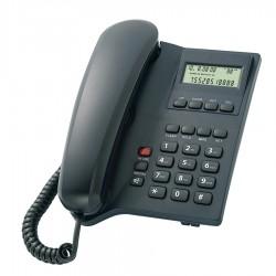 SM506 Σταθερό ενσύρματο τηλέφωνο LCD οθόνη, 16 ήχους, αναγνώριση κλήσης, Black
