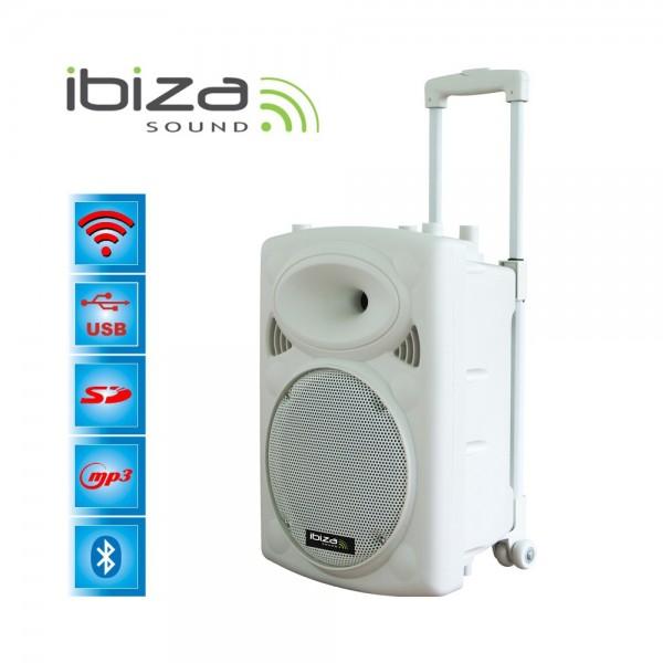 "Ibiza Sound PORT12VHF-BT-WH Φορητό σύστημα αναγγελιών (Public Address System) 12""/30cm με USB-MP3, BT, REC, VOX και 2 μικρόφωνα VHF"