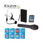 "Ibiza Sound PORT12VHF-BT Φορητό σύστημα αναγγελιών (Public Address System) 12""/30cm με USB-MP3, BT, REC, VOX και 2 μικρόφωνα VHF"