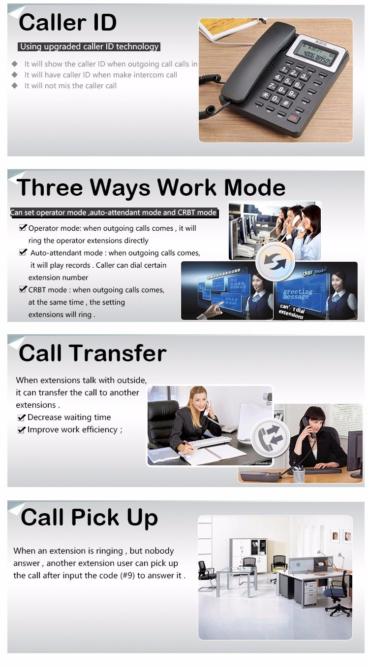 Key Telephone System PBX 3 Co Line 8 Extensions for Efficent Work